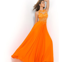 Tangerine Orange Illusion Floral Lace Open Back Chiffon Gown