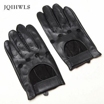 Top Quality Wrist Men Sheepskin Gloves Real Solid Genuine Leather Fashion Breathable Winter Driving Glove Free Shipping