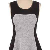 Faux leather trim textured peplum top