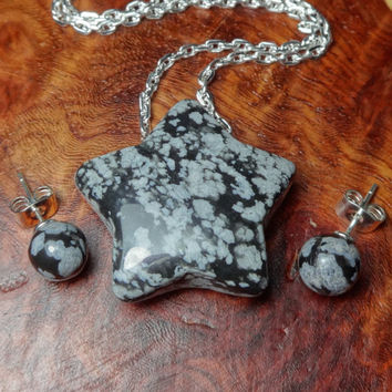 Star Necklace and 8 mm Studs Set - Snowflake Obsidian Carved Gemstone Pendant and Gemstone Stud Earrings (K53D) Natural Stone Pair Polished