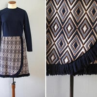 60s knit dress - vintage long sleeve knit navy blue diamond mod sweater tapestry yarn fringe wrap skirt parade new york white brown medium