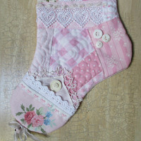 Pink Quilted Patchwork Christmas Stocking Shabby Chic Victorian Cottage