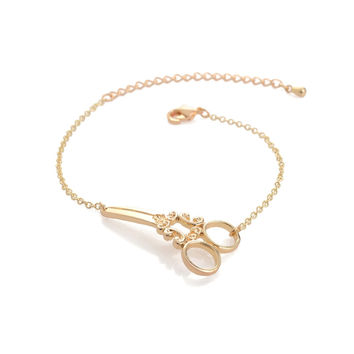 Scissors Shaped Gold & Silver Bracelets