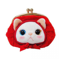 Choo Choo Cat Shaped Kiss Lock Coin Purse with Hood (Red)