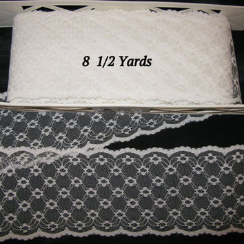 Wide Lace Trim, Flat White Stiff Lace Extra Wide Scallop Lace Trim 8 1/2 Yards