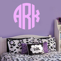 Monogram Wall Decal | Initial Wall Decal | Circle Monogram | Nursery Decal