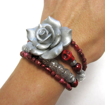 Sugar Skull Bracelet Day Of The Dead Jewelry Red Gray Silver Rose