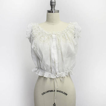 Victorian White Linen Camisole - Ivory Cotton Lace Antique Edwardian 1910s Corset Cover - Small