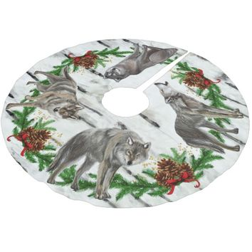 Christmas Wolf Pack Birch Brushed Polyester Tree Skirt