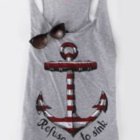Gray Anchor Printed Tank Top