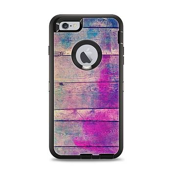 The Pink & Blue Grunge Wood Planks Apple iPhone 6 Plus Otterbox Defender Case Skin Set