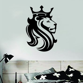 Lion V20 Animals King Crown Wall Decal Sticker Vinyl Art Bedroom Living Room Decor Teen Boy Girl Baby Nursery