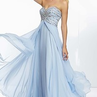 Long Strapless Open Back Formal Gown