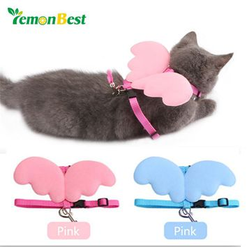 LemonBest Dog Puppy Traction Rope Pet Supplies Dog Cat Collars Angel Wings Chest Retractable Straps Walking Lead Leash Size M