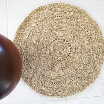 Crochet rug Crochet Carpet Natural rug Round Rug Natural sheep wool door decoration handmade rug wool, Ready to Ship