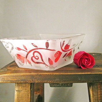 Hearts Square Bowl Etched Glass Ready to Ship by BeedazzledDesigns