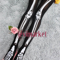 Halloween Skeleton Bone Tights Goth Punk Women Pantyhose SO001