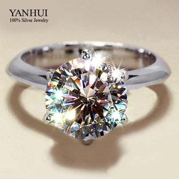 Wholesale 925 Sterling Silver Jewelry Solid Silver Ring Set 2 Carat Sona CZ Diamant Engagement Wedding Rings for Women JZR002