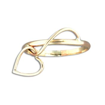 Heart Dangle Ring - Gold Filled