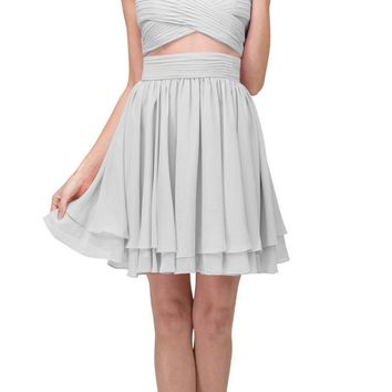 Silver Homecoming Short Dress with Sheer Cut-Outs