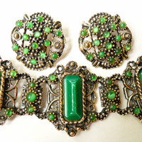 Victorian Revival Bracelet Earrings Set Green Vintage Link Selro-Style