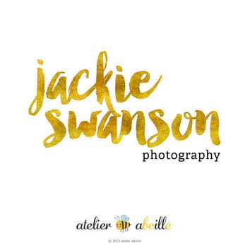 Premade Logo Design Text Only Logo Gold Foil Logo Photography Logo Etsy Shop Logo Website Logo Blog Logo Gold Text Logo Design Business Logo