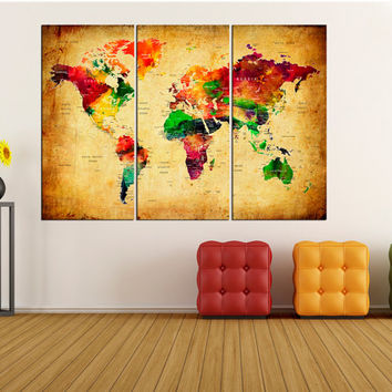 Large Push Pin world map wall art canvas, modern wall decor World Map push pin wall art canvas, extra large wall art print abstract No:6S53