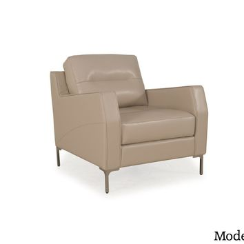Isabel Full Leather Mid-Century Chair Putty