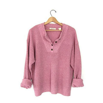 vintage henley pink sweater slouchy ribbed knit sweater cotton pullover sweater boyfriend sweater button front sweater. XL
