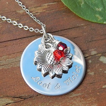 Engraved Necklace, Mothers Necklace, Birthstone Necklace, Personalized Jewelry, Birthstone Jewelry, Gift for Mom, Best Friend Necklace