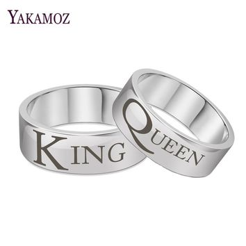 YAKAMOZ Steel Color King Queen Couple Rings Personality Titanium Steel Carved Letters Rings Fine Brand Finger Jewelry