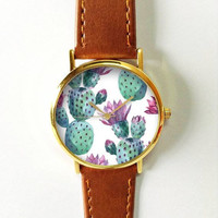 Cactus Watch , Women Watches,  Leather Watch, Men's Watch  Boyfriend Watch, Ladies Watch, Silver Gold Rose Watch, Unique, Succulents, Gift