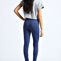 Ruby Mid Wash Pocket Back Denim Look Jeggings