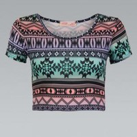 Multi Colored Tribal Aztec Print Crop Top