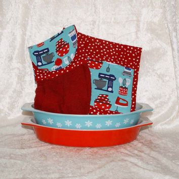3 Piece Kitchen Set • Handmade Hanging Hand Towel • Two Pot Holders • Vintage Dishes• Retro Kitchen Mixer • Blender • Red Turquoise Dots