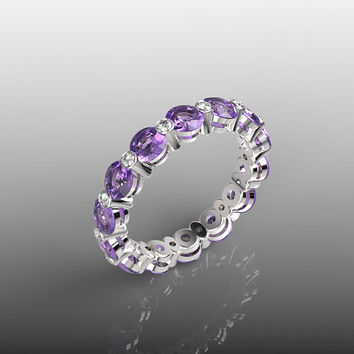 14k White Gold, Modern Wedding Band, Modern Eternity Ring, Wedding Diamond Ring, Amethyst Ring, Unusual Ring