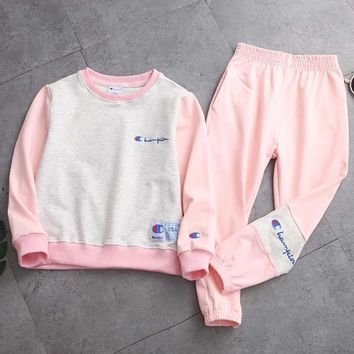 Champion Girls Boys Children Baby Toddler Kids Child Fashion Casual Top Sweater Pullover Pants Trousers Two Piece Set