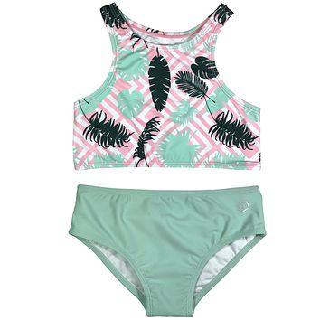 "Little Girl Halter (2 Piece) - ""Palm Breeze"""