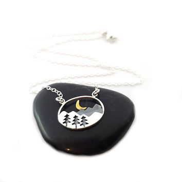 Mountain Scenery Necklace - Sterling Silver Jewelry