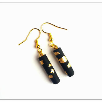 Black Gold Dangle Earrings, Drop Earrings, Polymer Clay Jewelry, Elegant Earrings, Matte Earrings, Stocking Stuffer, Christmas Sale, Gifts