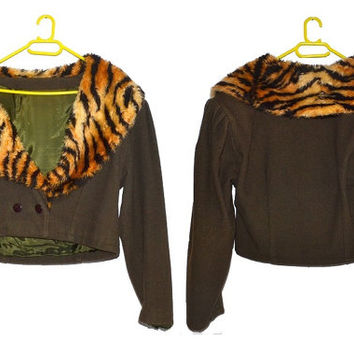 Vintage 80s Animal Print Cropped Coat Crop Jacket Tiger Print Faux Fur Wool Bolero Shrug 1980s Large L