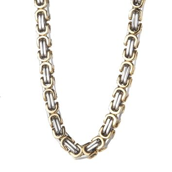 8mm Large Gold & Silver Byzantine Box Chain