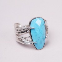 Feather Band Stone Cuff in Silver
