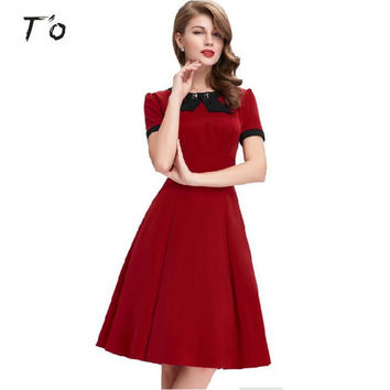 T'O Lady Retro Elegant 1950s Vintage Pinup Rockabilly Cotton Ruched High Waist Bow Neck Party Casual Work Swing Dress 219