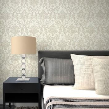 Victorian Vintage Beige Floral Damask Wallpaper for Wall Classic Embossed Wall Paper Roll Home Living room Decor Wallcoverings
