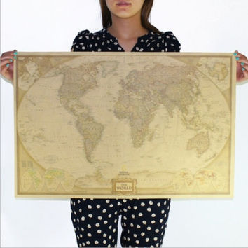 Vintage Retro Paper World Map Antique Poster Wall Chart Home Decoration 72.5*47.5cm [7642046470]