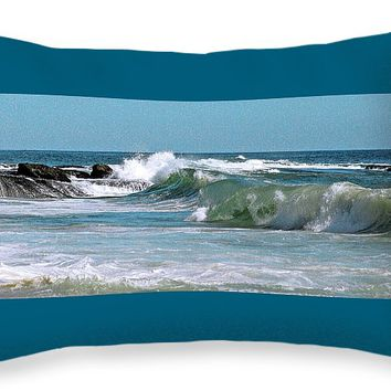 "Stormy Lagune - Blue Seascape Throw Pillow for Sale by Ben and Raisa Gertsberg - 20"" x 14"""