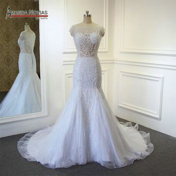 New Arrival Mermaid Wedding Dress Top Full Beading Transparent Bodice Dress