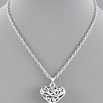 Womens Jewelry, Silver Tone Textured Heart Necklace. Pendant 1 Inch L. Extender 3 Inch L.