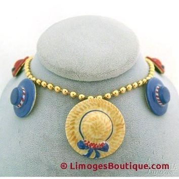 Hat Necklace: Red And Blue Limoges Box